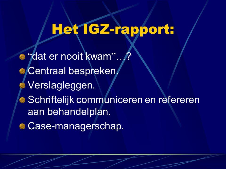 Het IGZ-rapport: dat er nooit kwam … . Centraal bespreken.