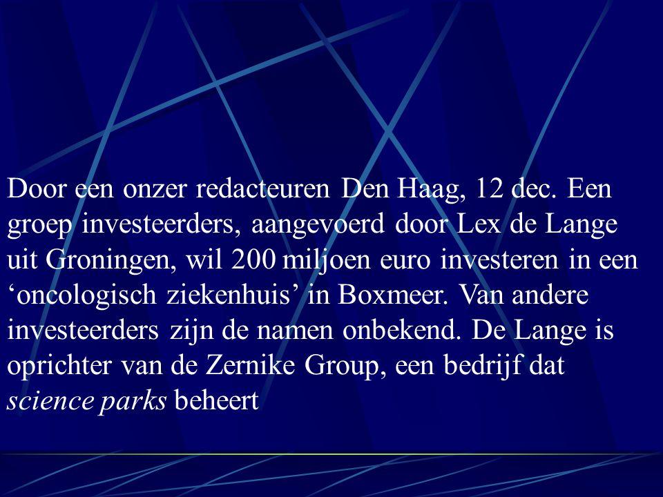 Door een onzer redacteuren Den Haag, 12 dec.