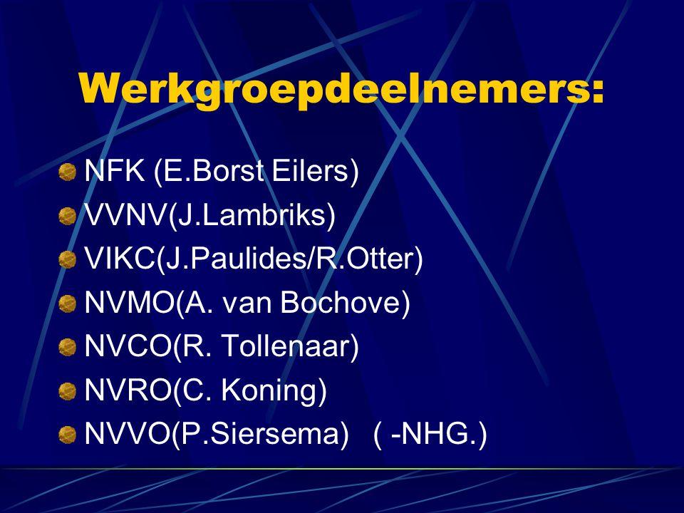 Werkgroepdeelnemers: NFK (E.Borst Eilers) VVNV(J.Lambriks) VIKC(J.Paulides/R.Otter) NVMO(A.