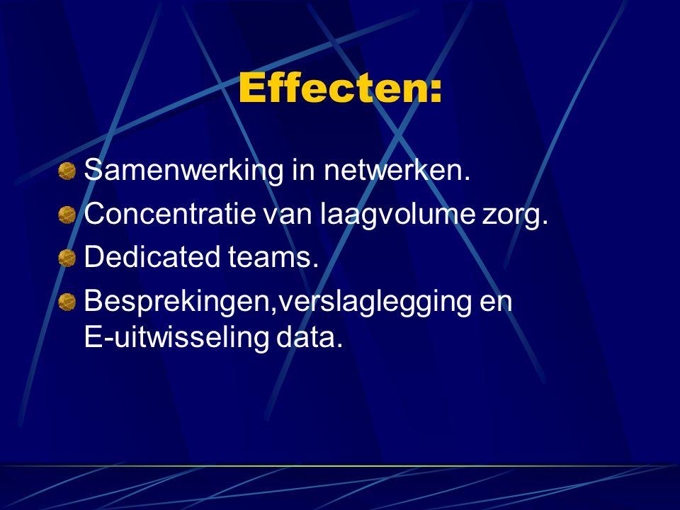 Effecten: Samenwerking in netwerken. Concentratie van laagvolume zorg.