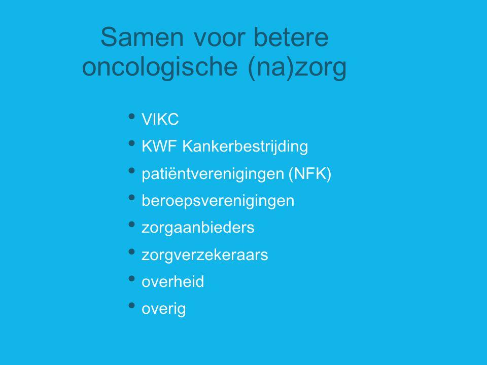 Samen voor betere oncologische (na)zorg VIKC KWF Kankerbestrijding patiëntverenigingen (NFK) beroepsverenigingen zorgaanbieders zorgverzekeraars overh