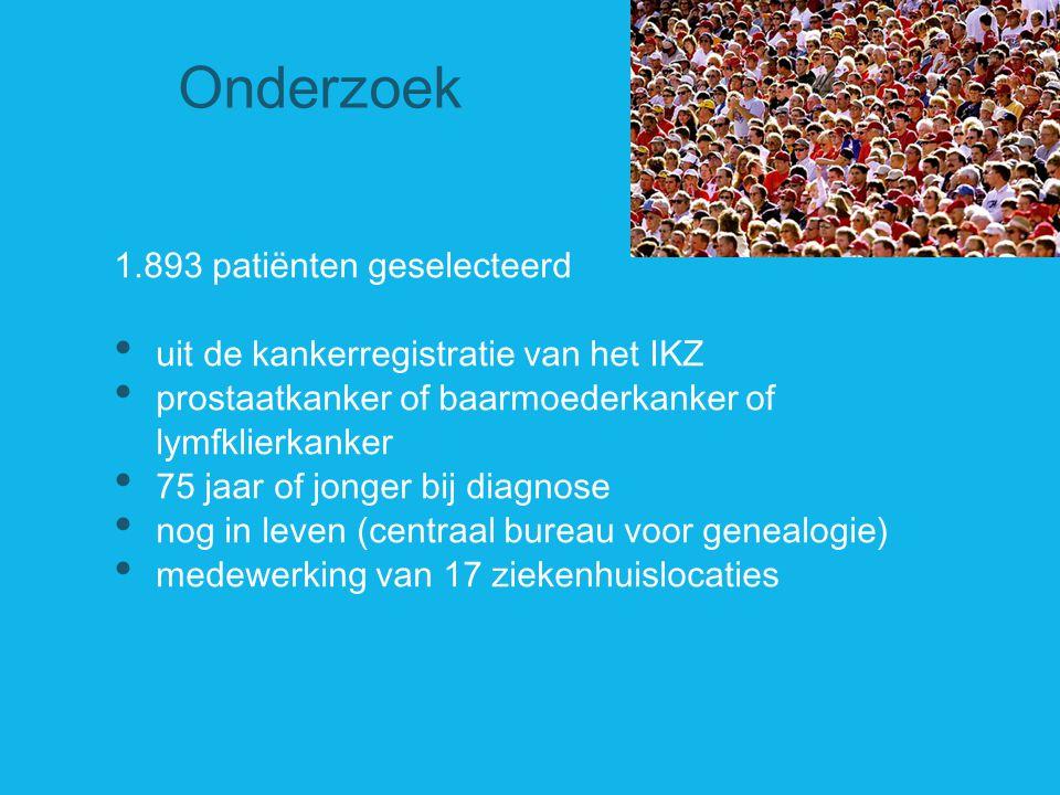 Onderzoek 1.893 patiënten geselecteerd uit de kankerregistratie van het IKZ prostaatkanker of baarmoederkanker of lymfklierkanker 75 jaar of jonger bi