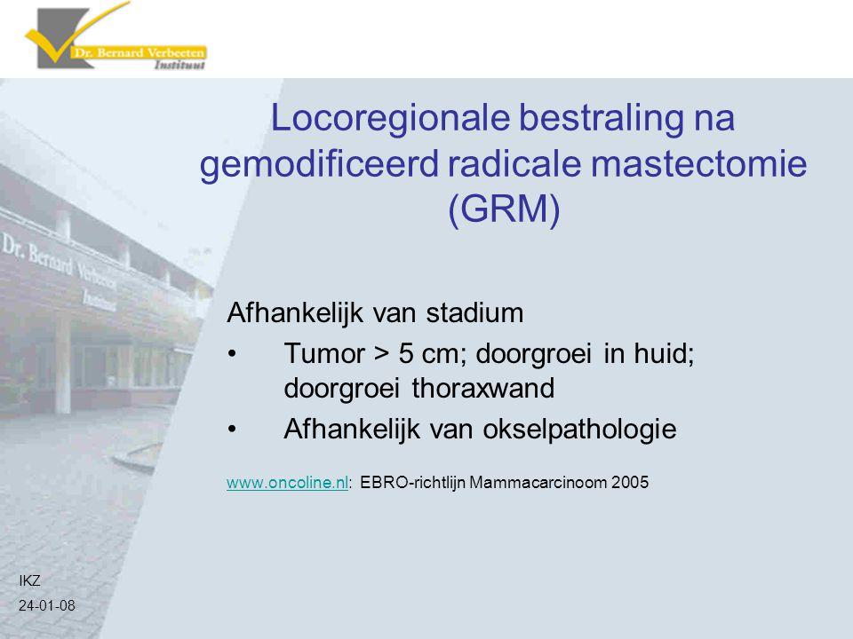 Locoregionale bestraling na gemodificeerd radicale mastectomie (GRM) Afhankelijk van stadium Tumor > 5 cm; doorgroei in huid; doorgroei thoraxwand Afh