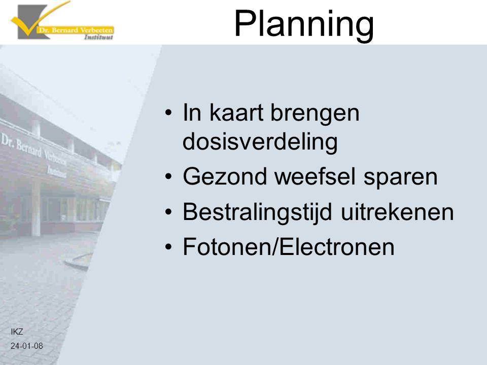 IKZ 24-01-08 Planning In kaart brengen dosisverdeling Gezond weefsel sparen Bestralingstijd uitrekenen Fotonen/Electronen