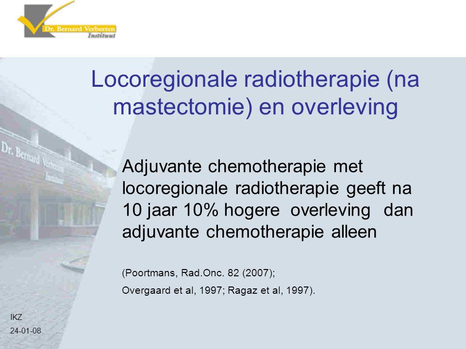 Locoregionale radiotherapie (na mastectomie) en overleving Adjuvante chemotherapie met locoregionale radiotherapie geeft na 10 jaar 10% hogere overlev