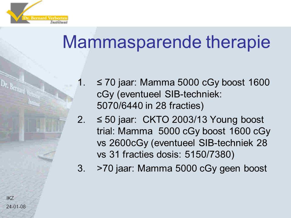 Mammasparende therapie 1.≤ 70 jaar: Mamma 5000 cGy boost 1600 cGy (eventueel SIB-techniek: 5070/6440 in 28 fracties) 2.≤ 50 jaar: CKTO 2003/13 Young b