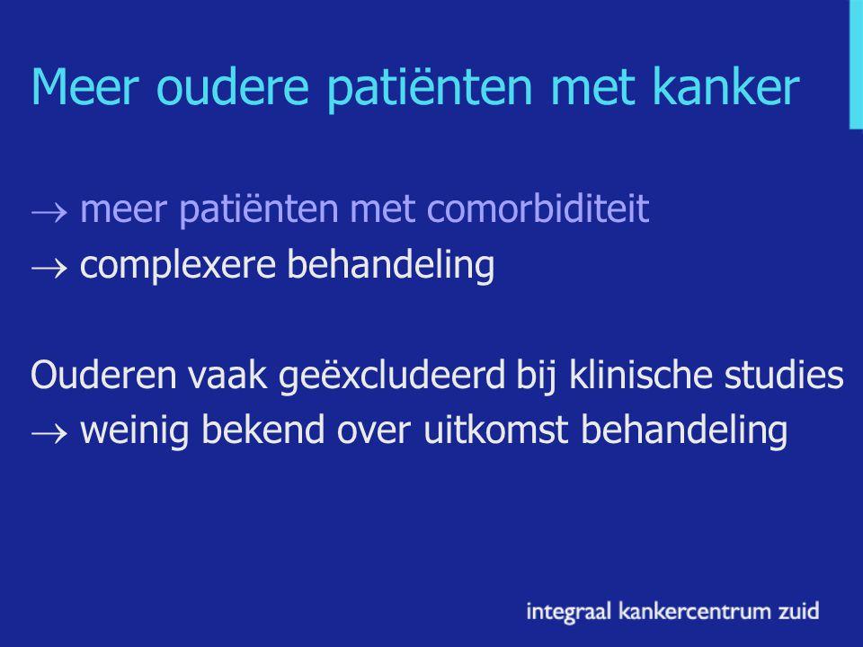 Meer oudere patiënten met kanker  meer patiënten met comorbiditeit  complexere behandeling Ouderen vaak geëxcludeerd bij klinische studies  weinig bekend over uitkomst behandeling