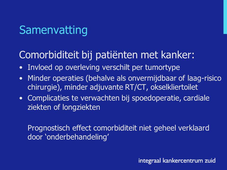 Samenvatting Comorbiditeit bij patiënten met kanker: Invloed op overleving verschilt per tumortype Minder operaties (behalve als onvermijdbaar of laag-risico chirurgie), minder adjuvante RT/CT, okselkliertoilet Complicaties te verwachten bij spoedoperatie, cardiale ziekten of longziekten Prognostisch effect comorbiditeit niet geheel verklaard door 'onderbehandeling'