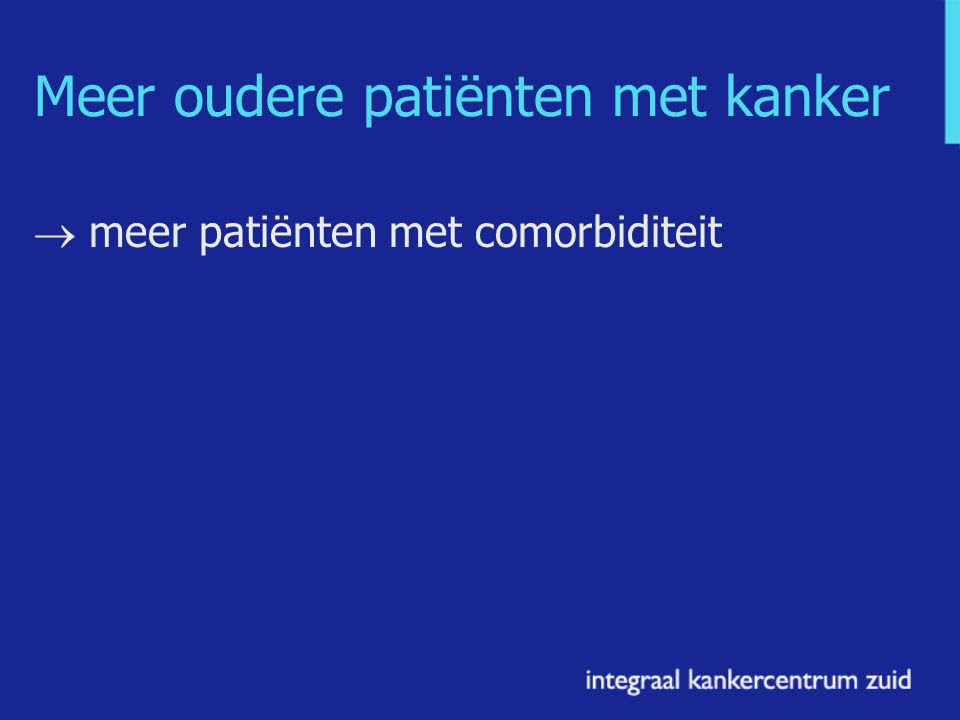 Integraal Kankercentrum Zuid (IKZ) Data van alle nieuwe patiënten met kanker in Noord-Brabant en noord-Limburg Registreert comorbiditeit sinds 1993 Uit medische dossiers Voorbeelden: patiënten gediagnosticeerd tussen 1995 and 2004