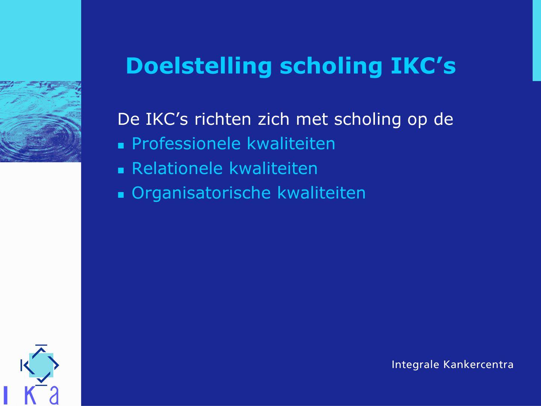 Doelstelling scholing IKC's De IKC's richten zich met scholing op de Professionele kwaliteiten Relationele kwaliteiten Organisatorische kwaliteiten