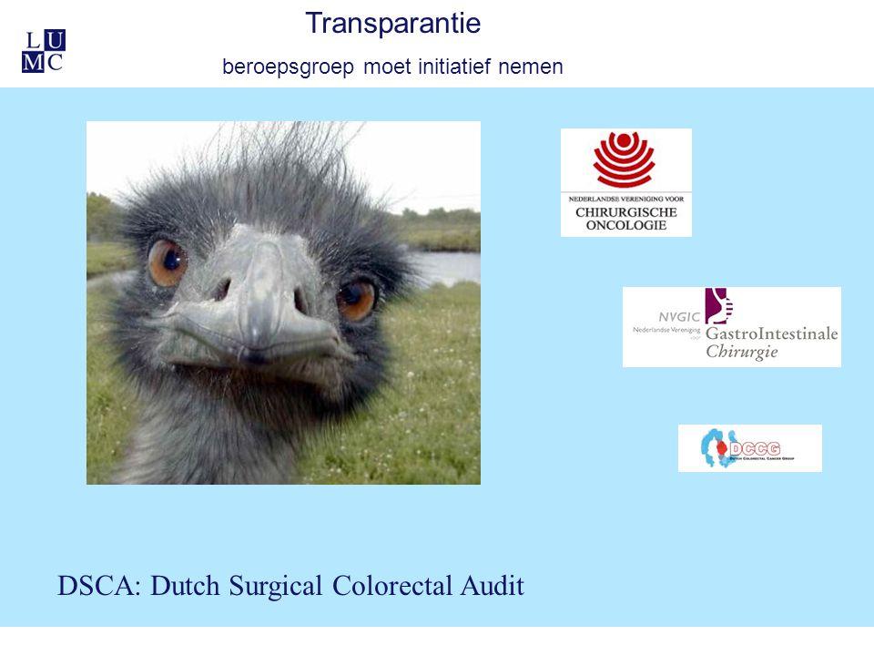 Transparantie beroepsgroep moet initiatief nemen DSCA: Dutch Surgical Colorectal Audit