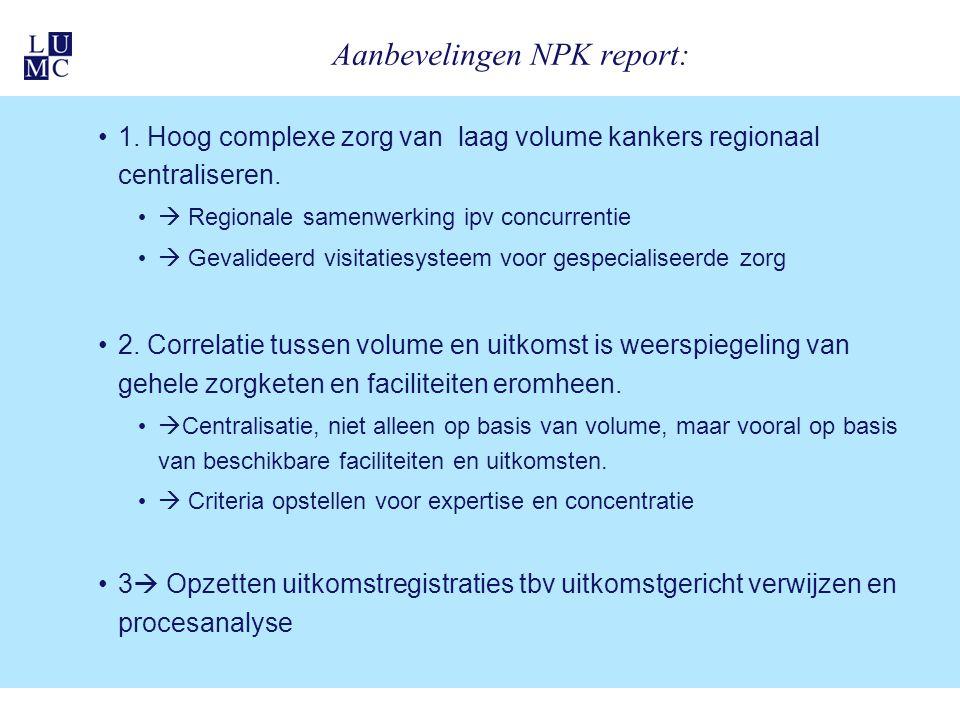 Aanbevelingen NPK report: 1. Hoog complexe zorg van laag volume kankers regionaal centraliseren.  Regionale samenwerking ipv concurrentie  Gevalidee