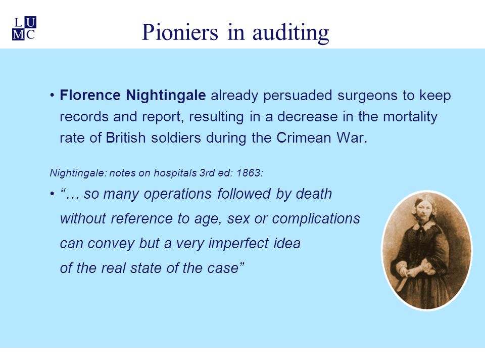 Pioniers in auditing Florence Nightingale already persuaded surgeons to keep records and report, resulting in a decrease in the mortality rate of Brit