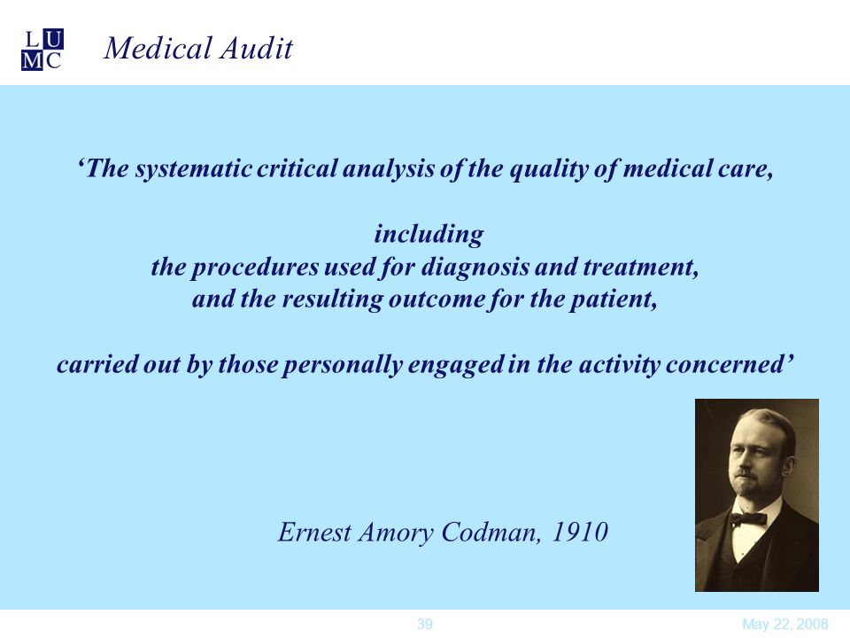 May 22, 200839 Medical Audit ' The systematic critical analysis of the quality of medical care, including the procedures used for diagnosis and treatm
