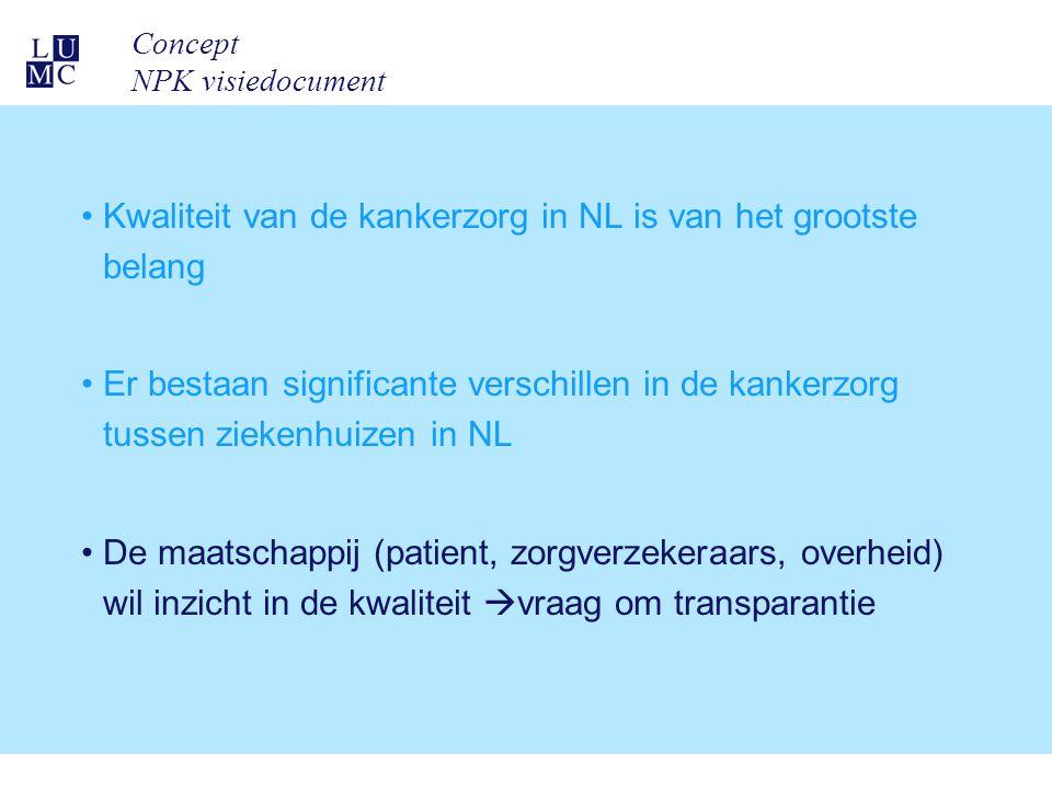 Concept NPK visiedocument Kwaliteit van de kankerzorg in NL is van het grootste belang Er bestaan significante verschillen in de kankerzorg tussen zie