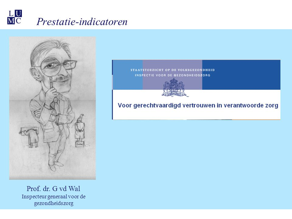Prestatie-indicatoren Prof. dr. G vd Wal Inspecteur generaal voor de gezondheidszorg