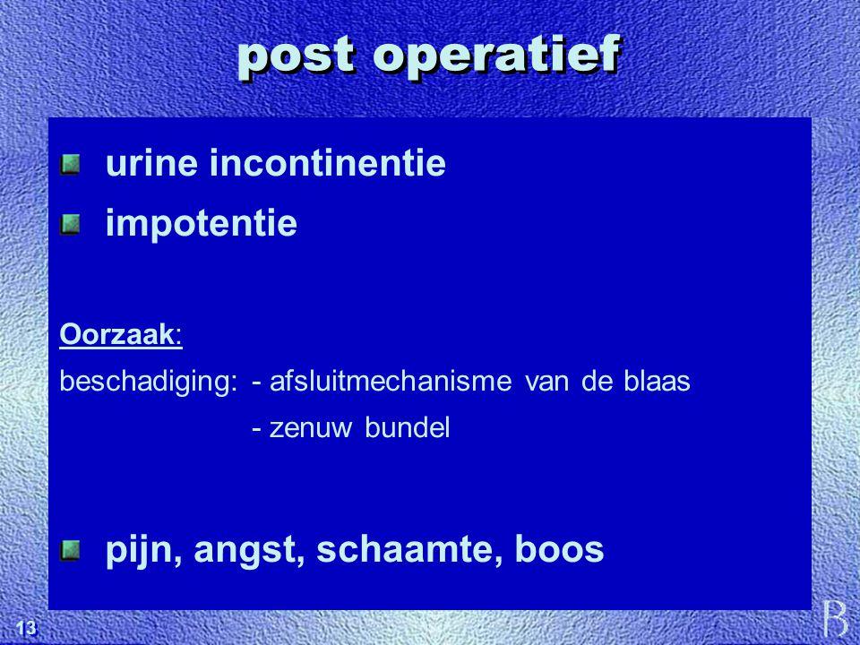 13 post operatief urine incontinentie impotentie Oorzaak: beschadiging: - afsluitmechanisme van de blaas - zenuw bundel pijn, angst, schaamte, boos