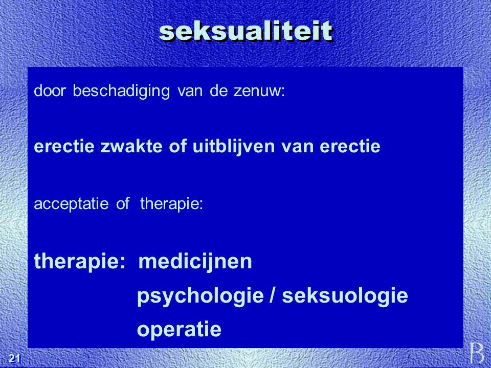 21 seksualiteit door beschadiging van de zenuw: erectie zwakte of uitblijven van erectie acceptatie of therapie: therapie: medicijnen psychologie / se