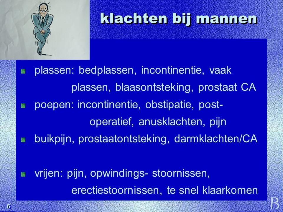 6 6 klachten bij mannen plassen: bedplassen, incontinentie, vaak plassen, blaasontsteking, prostaat CA poepen: incontinentie, obstipatie, post- operat