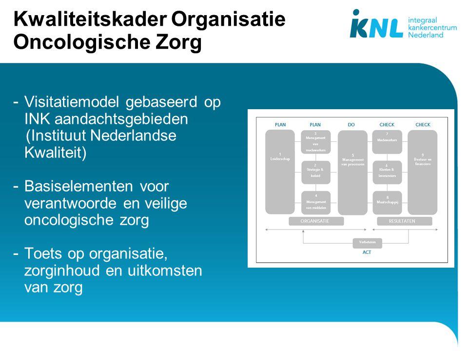 7 Kwaliteitskader Organisatie Oncologische Zorg - Visitatiemodel gebaseerd op INK aandachtsgebieden (Instituut Nederlandse Kwaliteit) - Basiselementen voor verantwoorde en veilige oncologische zorg - Toets op organisatie, zorginhoud en uitkomsten van zorg