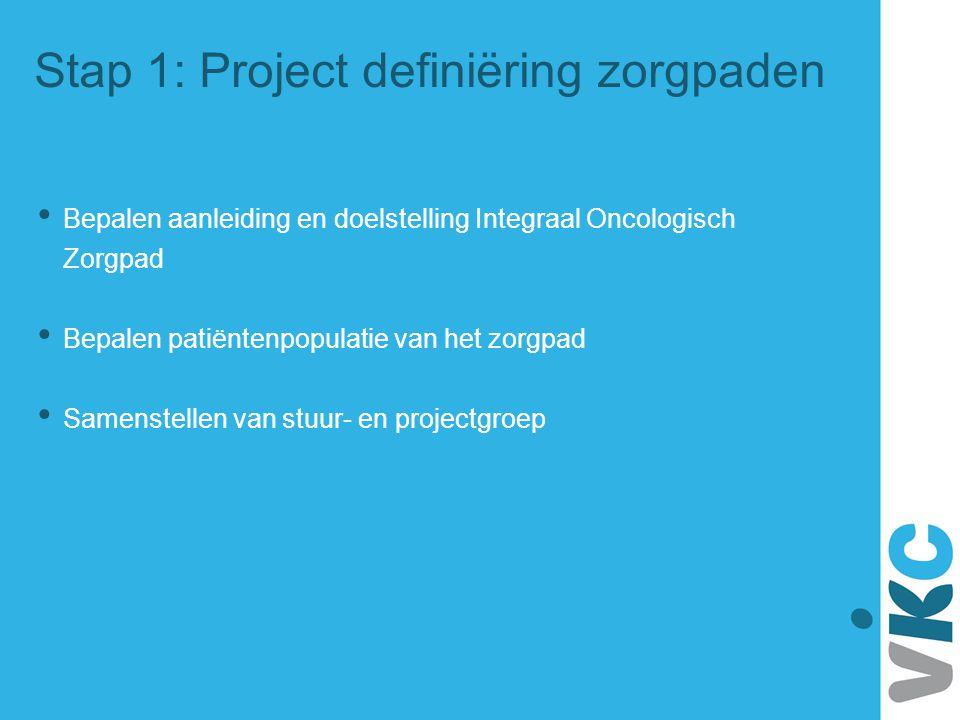 Stap 1: Project definiëring zorgpaden Bepalen aanleiding en doelstelling Integraal Oncologisch Zorgpad Bepalen patiëntenpopulatie van het zorgpad Same