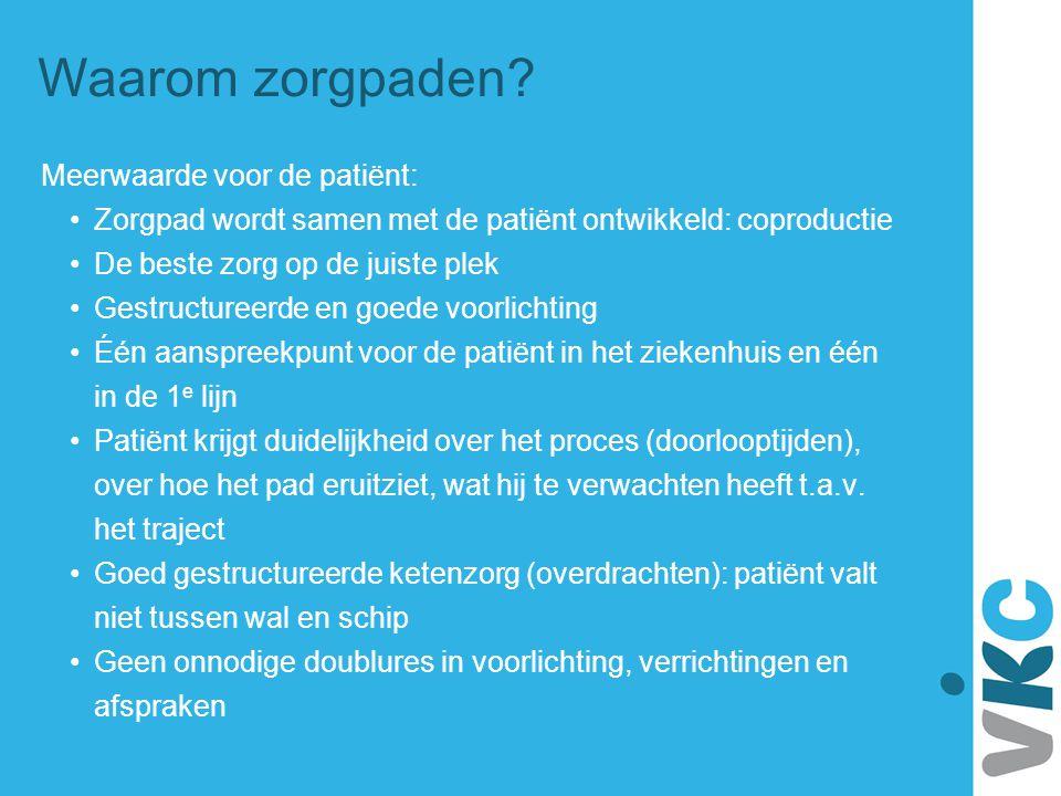 Waarom zorgpaden? Meerwaarde voor de patiënt: Zorgpad wordt samen met de patiënt ontwikkeld: coproductie De beste zorg op de juiste plek Gestructureer