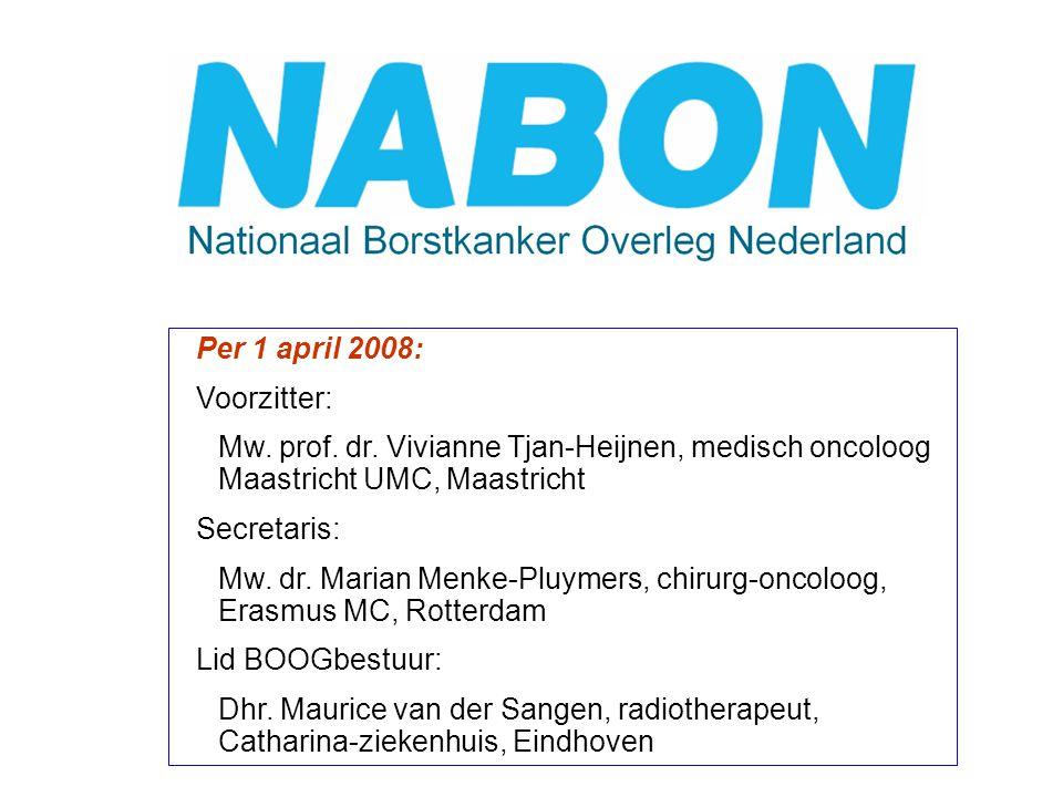 Per 1 april 2008: Voorzitter: Mw. prof. dr. Vivianne Tjan-Heijnen, medisch oncoloog Maastricht UMC, Maastricht Secretaris: Mw. dr. Marian Menke-Pluyme