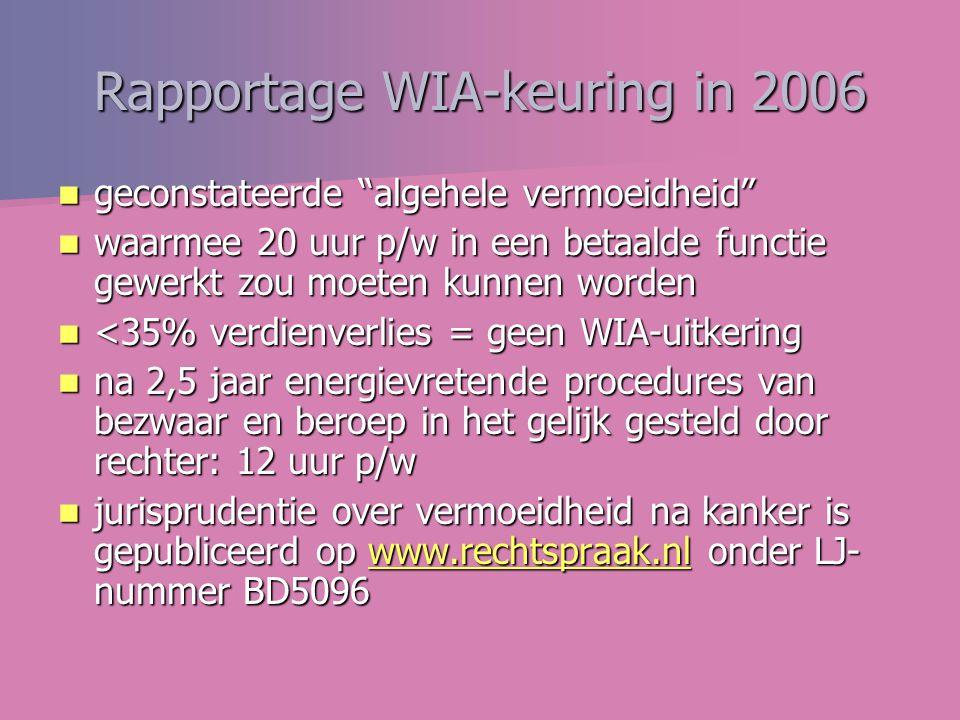 Rapportage WIA-keuring in 2006 geconstateerde algehele vermoeidheid geconstateerde algehele vermoeidheid waarmee 20 uur p/w in een betaalde functie gewerkt zou moeten kunnen worden waarmee 20 uur p/w in een betaalde functie gewerkt zou moeten kunnen worden <35% verdienverlies = geen WIA-uitkering <35% verdienverlies = geen WIA-uitkering na 2,5 jaar energievretende procedures van bezwaar en beroep in het gelijk gesteld door rechter: 12 uur p/w na 2,5 jaar energievretende procedures van bezwaar en beroep in het gelijk gesteld door rechter: 12 uur p/w jurisprudentie over vermoeidheid na kanker is gepubliceerd op www.rechtspraak.nl onder LJ- nummer BD5096 jurisprudentie over vermoeidheid na kanker is gepubliceerd op www.rechtspraak.nl onder LJ- nummer BD5096www.rechtspraak.nl
