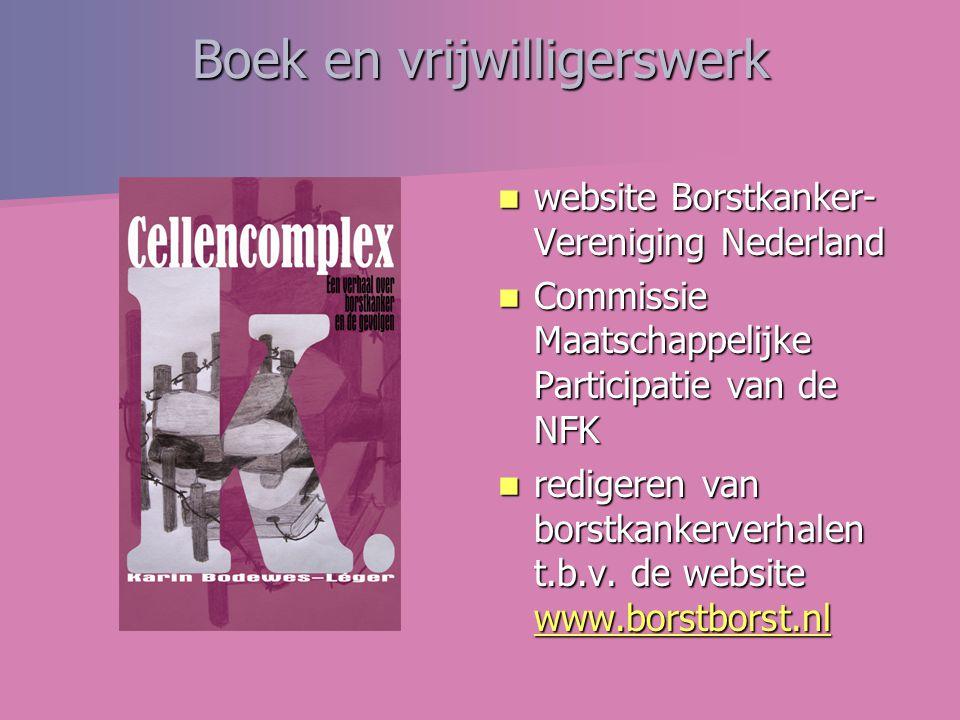 Boek en vrijwilligerswerk website Borstkanker- Vereniging Nederland website Borstkanker- Vereniging Nederland Commissie Maatschappelijke Participatie van de NFK Commissie Maatschappelijke Participatie van de NFK redigeren van borstkankerverhalen t.b.v.