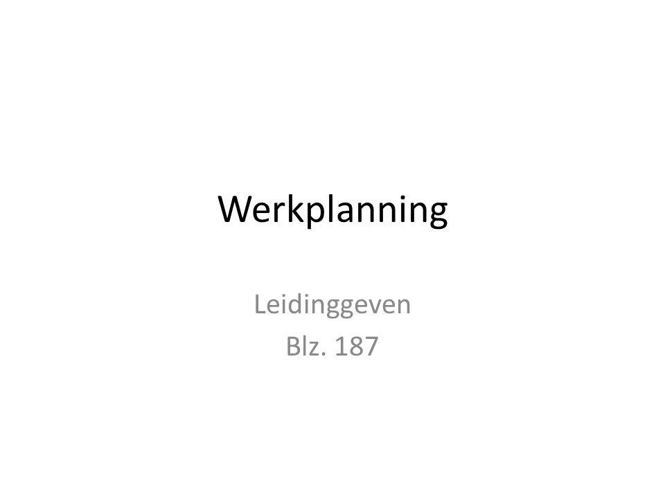 Werkplanning Leidinggeven Blz. 187