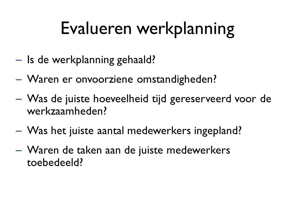 Evalueren werkplanning –Is de werkplanning gehaald? –Waren er onvoorziene omstandigheden? –Was de juiste hoeveelheid tijd gereserveerd voor de werkzaa