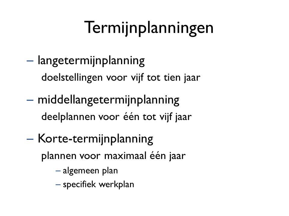 Termijnplanningen –langetermijnplanning doelstellingen voor vijf tot tien jaar –middellangetermijnplanning deelplannen voor één tot vijf jaar –Korte-t