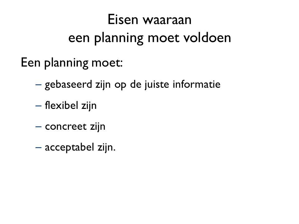 Werkplanning –Een korte-termijnplanning waarin staat wie wanneer wat uitvoert.