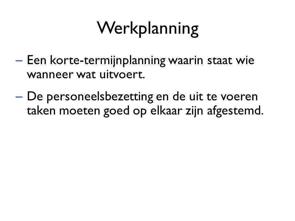 Werkplanning –Een korte-termijnplanning waarin staat wie wanneer wat uitvoert. –De personeelsbezetting en de uit te voeren taken moeten goed op elkaar