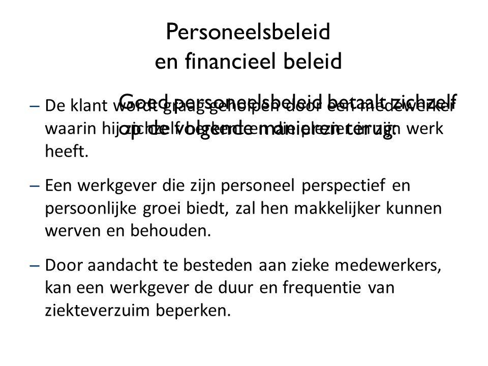 Personeelsbeleid en financieel beleid Goed personeelsbeleid betaalt zichzelf op de volgende manieren terug: – De klant wordt graag geholpen door een m