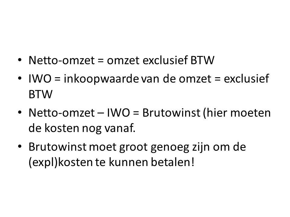 Netto-omzet = omzet exclusief BTW IWO = inkoopwaarde van de omzet = exclusief BTW Netto-omzet – IWO = Brutowinst (hier moeten de kosten nog vanaf.