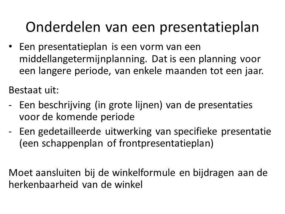 Onderdelen van een presentatieplan Een presentatieplan is een vorm van een middellangetermijnplanning. Dat is een planning voor een langere periode, v