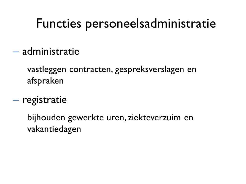Functies personeelsadministratie –administratie vastleggen contracten, gespreksverslagen en afspraken –registratie bijhouden gewerkte uren, ziekteverzuim en vakantiedagen