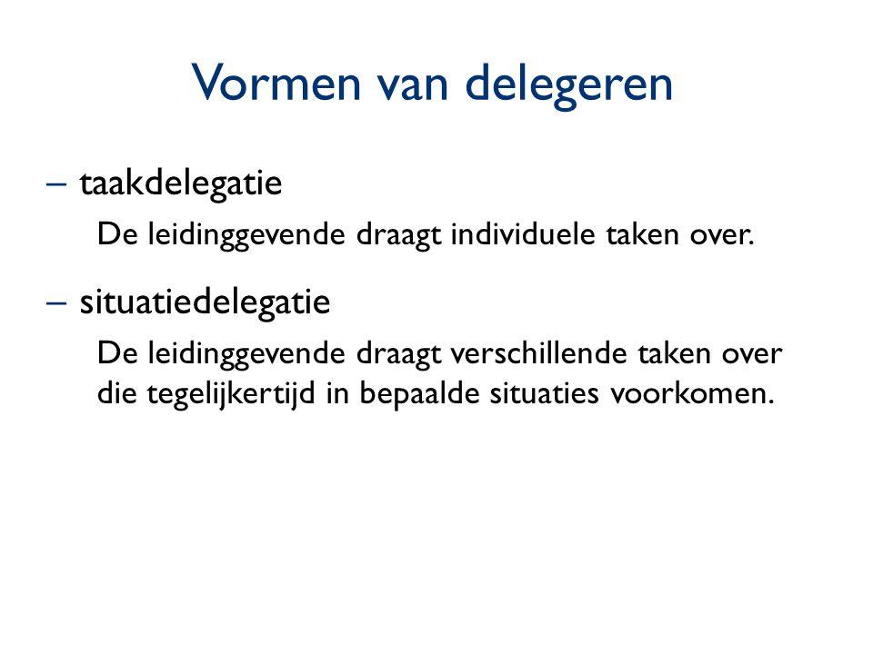 Vormen van delegeren –taakdelegatie De leidinggevende draagt individuele taken over. –situatiedelegatie De leidinggevende draagt verschillende taken o