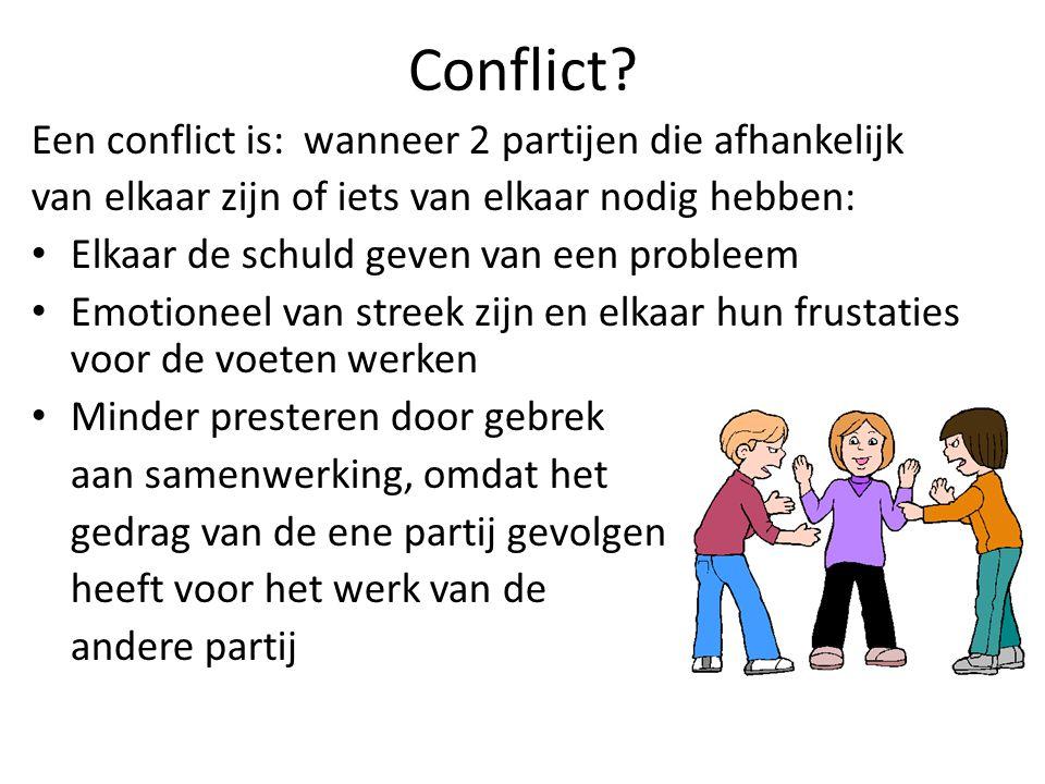 Conflict? Een conflict is: wanneer 2 partijen die afhankelijk van elkaar zijn of iets van elkaar nodig hebben: Elkaar de schuld geven van een probleem