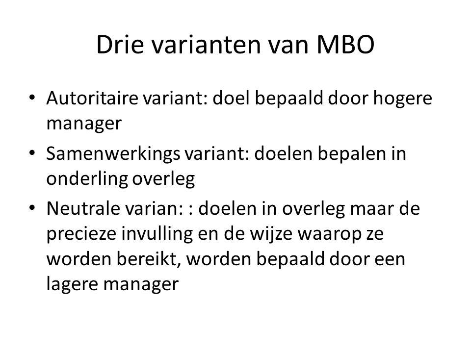 Drie varianten van MBO Autoritaire variant: doel bepaald door hogere manager Samenwerkings variant: doelen bepalen in onderling overleg Neutrale varia
