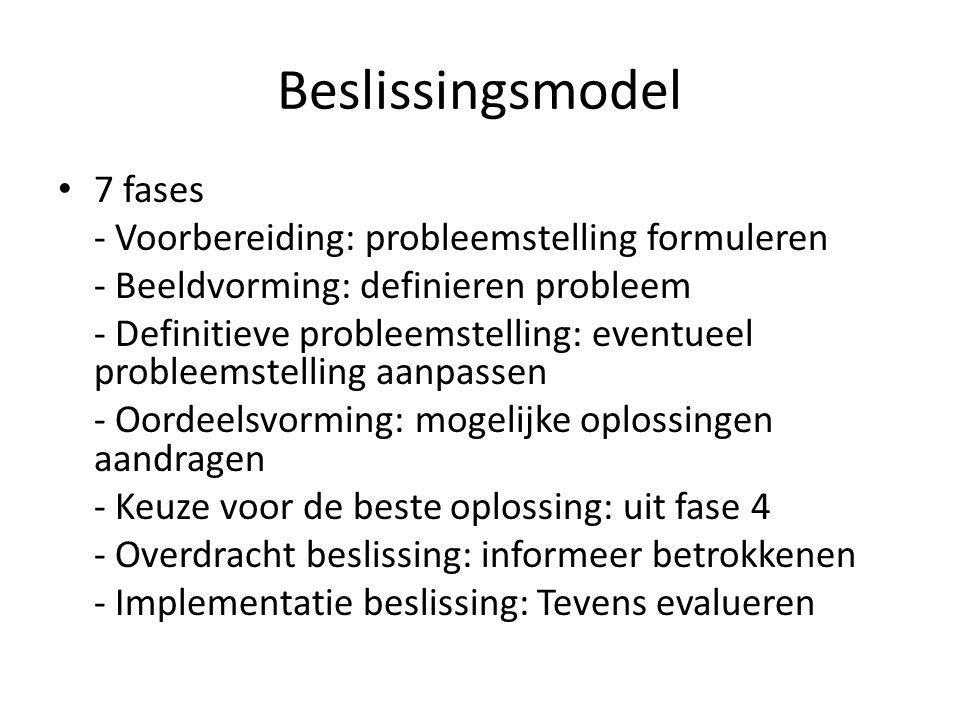 Beslissingsmodel 7 fases - Voorbereiding: probleemstelling formuleren - Beeldvorming: definieren probleem - Definitieve probleemstelling: eventueel pr
