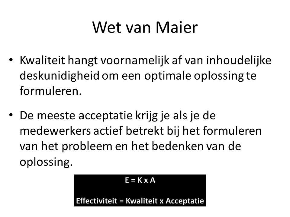 Wet van Maier Kwaliteit hangt voornamelijk af van inhoudelijke deskunidigheid om een optimale oplossing te formuleren. De meeste acceptatie krijg je a