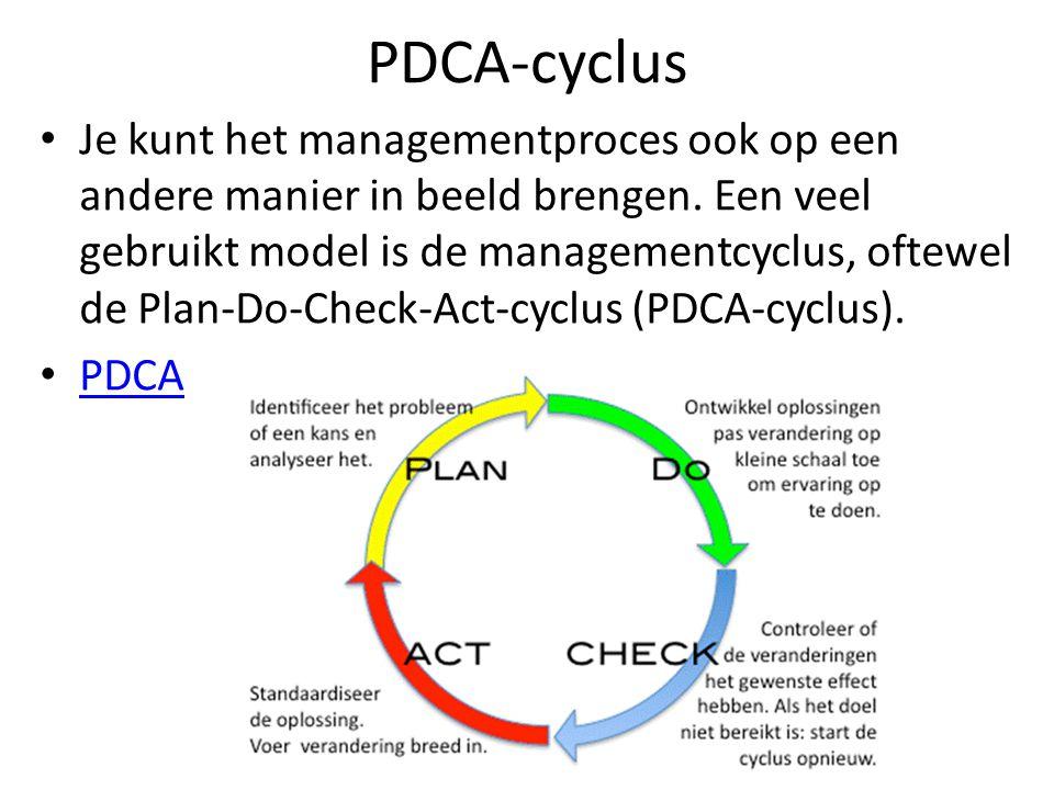 PDCA-cyclus Je kunt het managementproces ook op een andere manier in beeld brengen. Een veel gebruikt model is de managementcyclus, oftewel de Plan-Do
