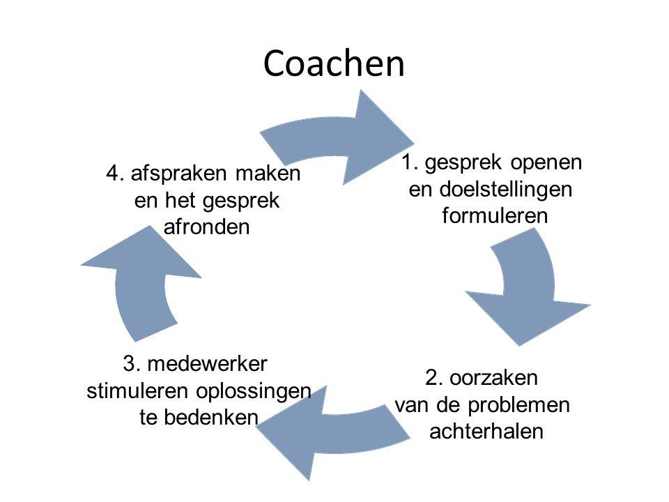 Coachen 1. gesprek openen en doelstellingen formuleren 2. oorzaken van de problemen achterhalen 3. medewerker stimuleren oplossingen te bedenken 4. af