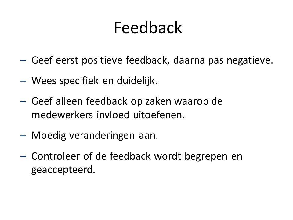 Feedback – Geef eerst positieve feedback, daarna pas negatieve. – Wees specifiek en duidelijk. – Geef alleen feedback op zaken waarop de medewerkers i