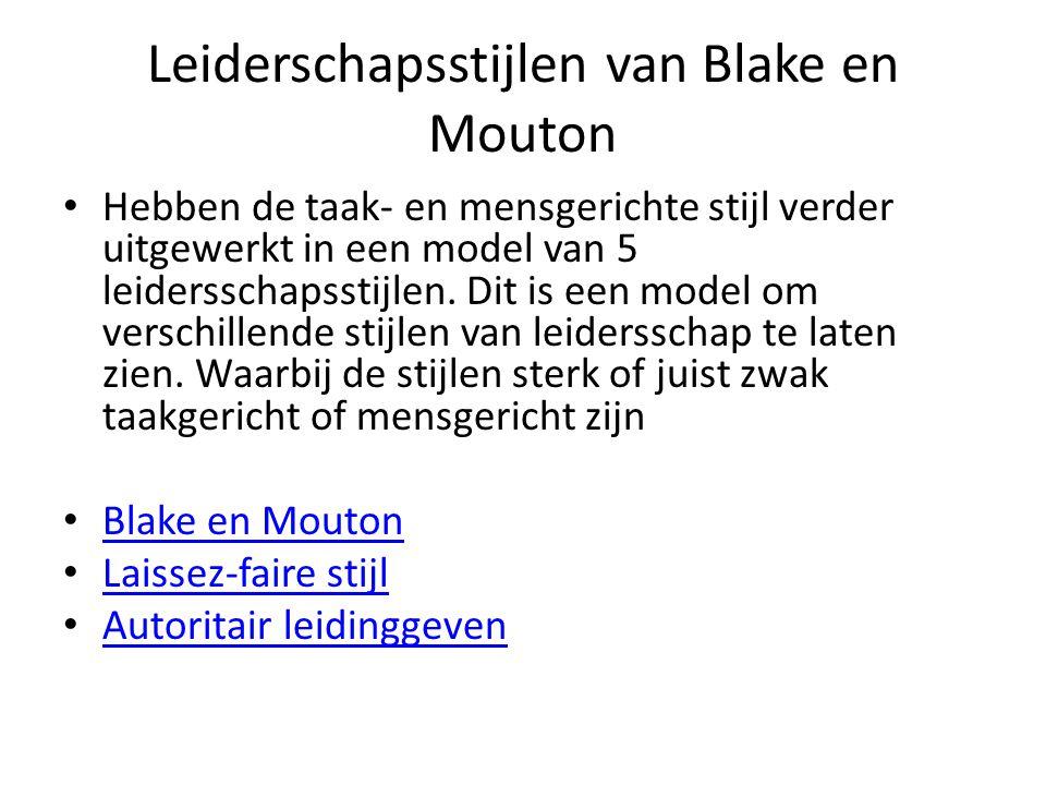 Leiderschapsstijlen van Blake en Mouton Hebben de taak- en mensgerichte stijl verder uitgewerkt in een model van 5 leidersschapsstijlen. Dit is een mo
