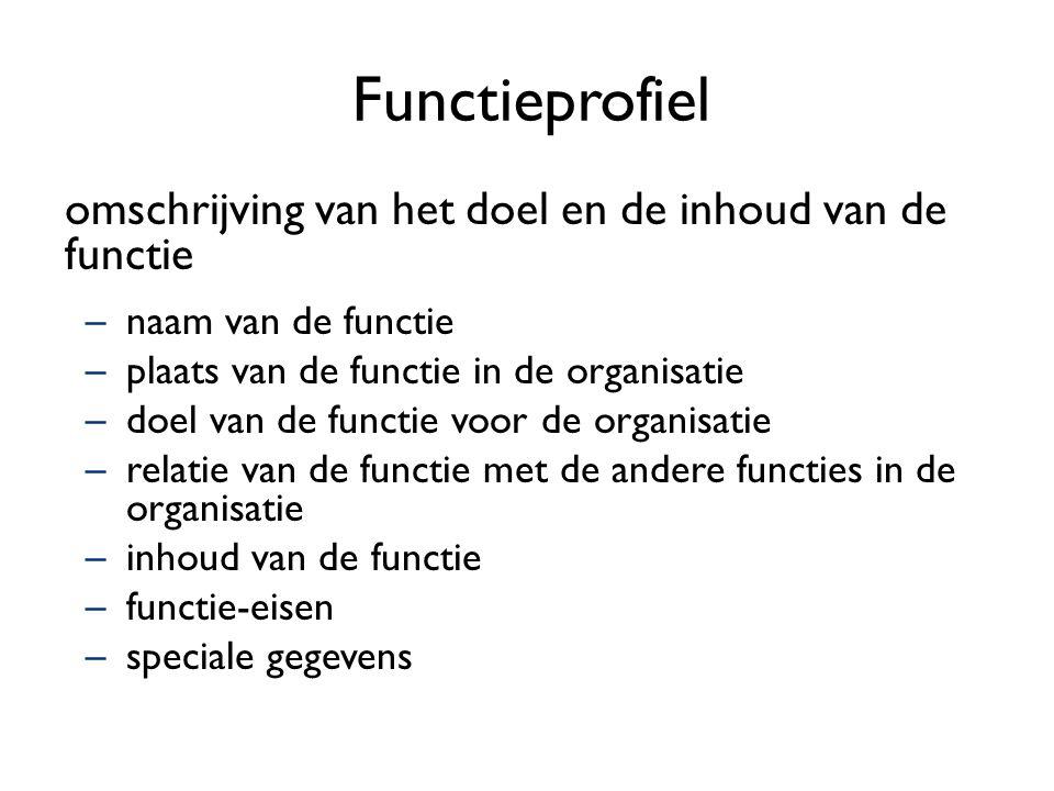 Functieprofiel omschrijving van het doel en de inhoud van de functie –naam van de functie –plaats van de functie in de organisatie –doel van de functi