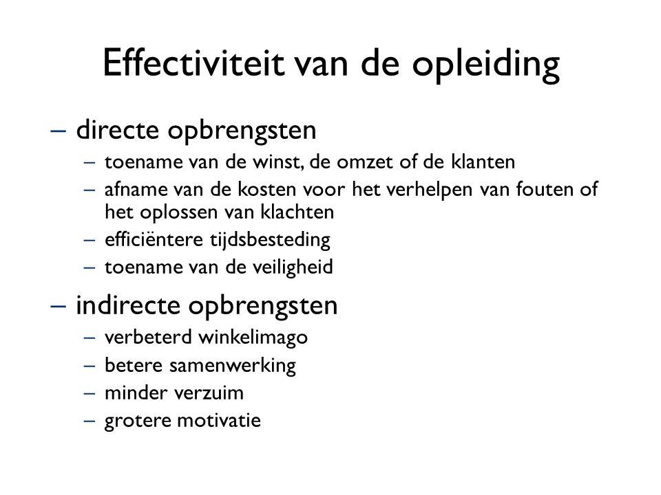 Effectiviteit van de opleiding –directe opbrengsten –toename van de winst, de omzet of de klanten –afname van de kosten voor het verhelpen van fouten