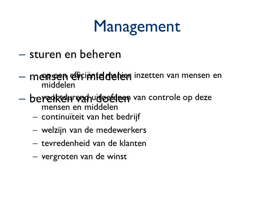 Management –sturen en beheren –mensen en middelen –bereiken van doelen –continuïteit van het bedrijf –welzijn van de medewerkers –tevredenheid van de